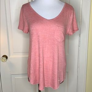Hollister v-neck Pink hearthered tee Small